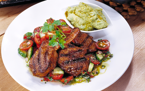 Spicy Lamb Cutlets with Guacamole and Cherry Tomato Salsa