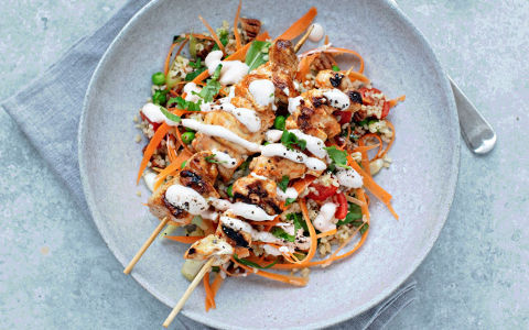 Sriracha Chicken Kebabs with a Crunchy Salad