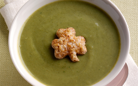 St Patrick's Day Soup with Shamrock Shaped Cheese Croutons