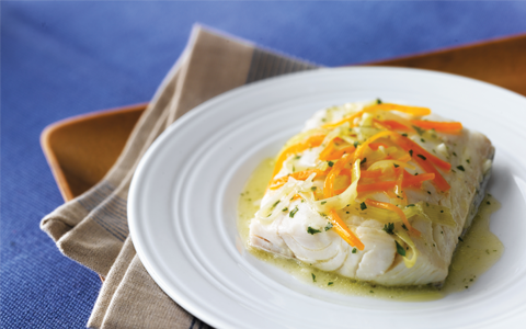 Steamed Haddock with Carrots and Leeks
