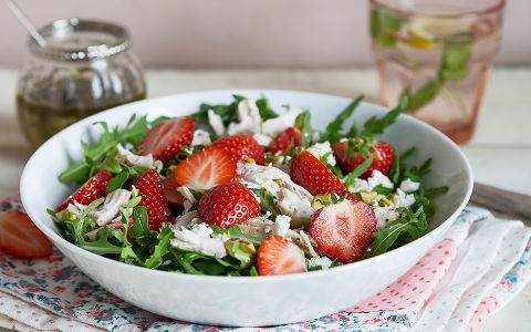 Strawberry, pistachio, Feta and chicken salad with orange poppy seed dressing