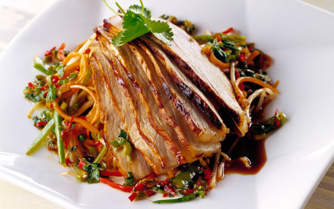 Teriyaki Pork with Bean Sprouts and Carrot Salad