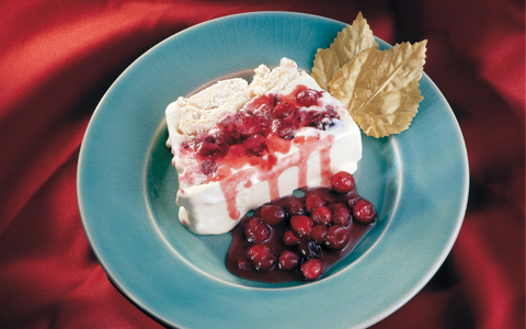 Terrine of Vanilla Ice-Cream with Meringue and Cranberry Sauce