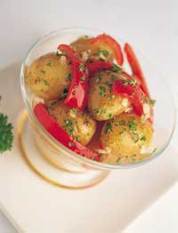 Warm Potato, Onion and Red pepper Salad