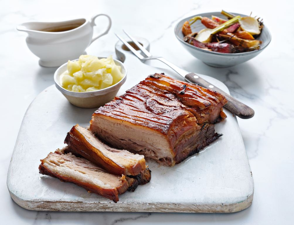 Cider Braised Pork Belly with Apple Sauce