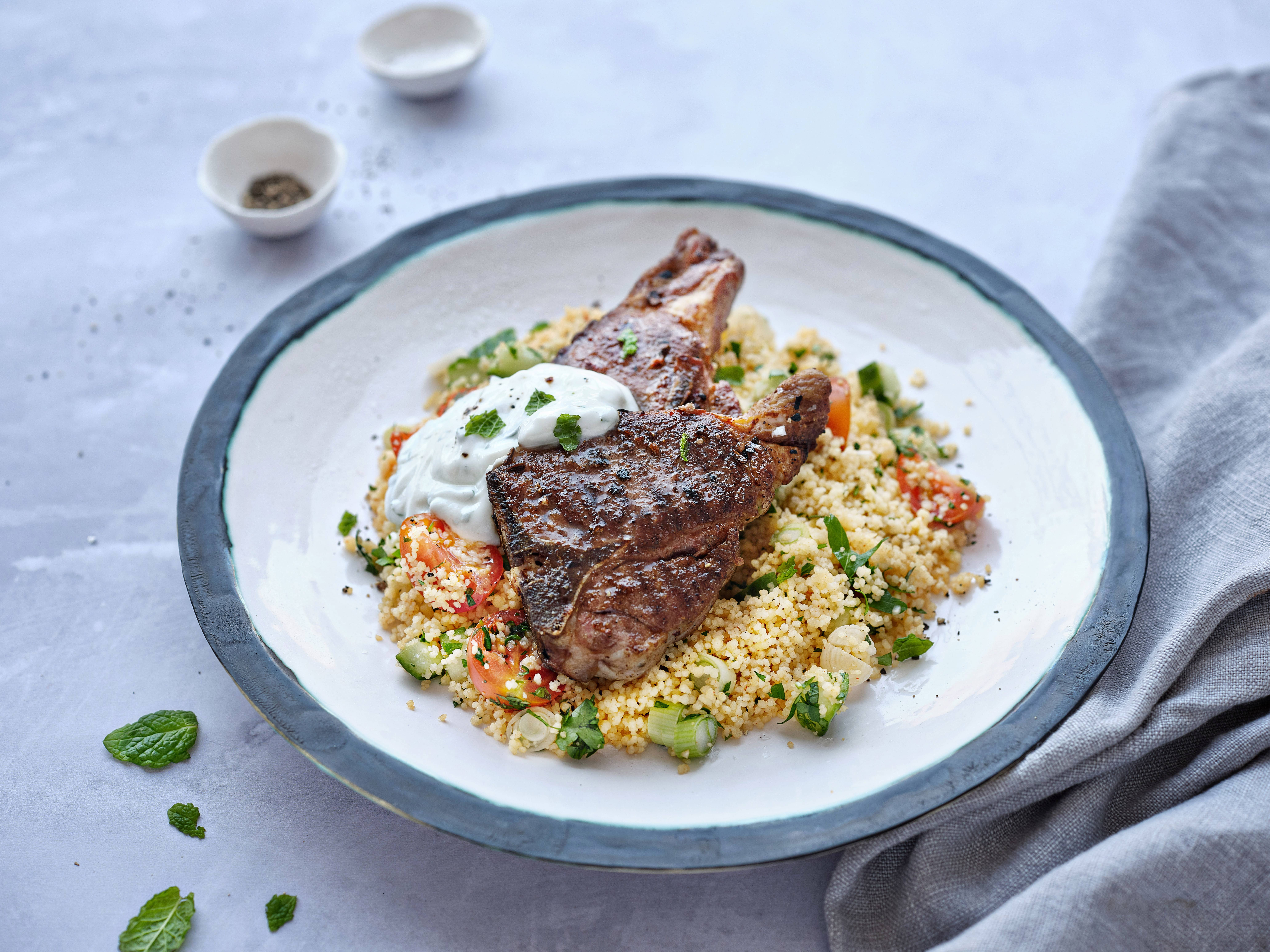 Lamb Chops with Minty Couscous