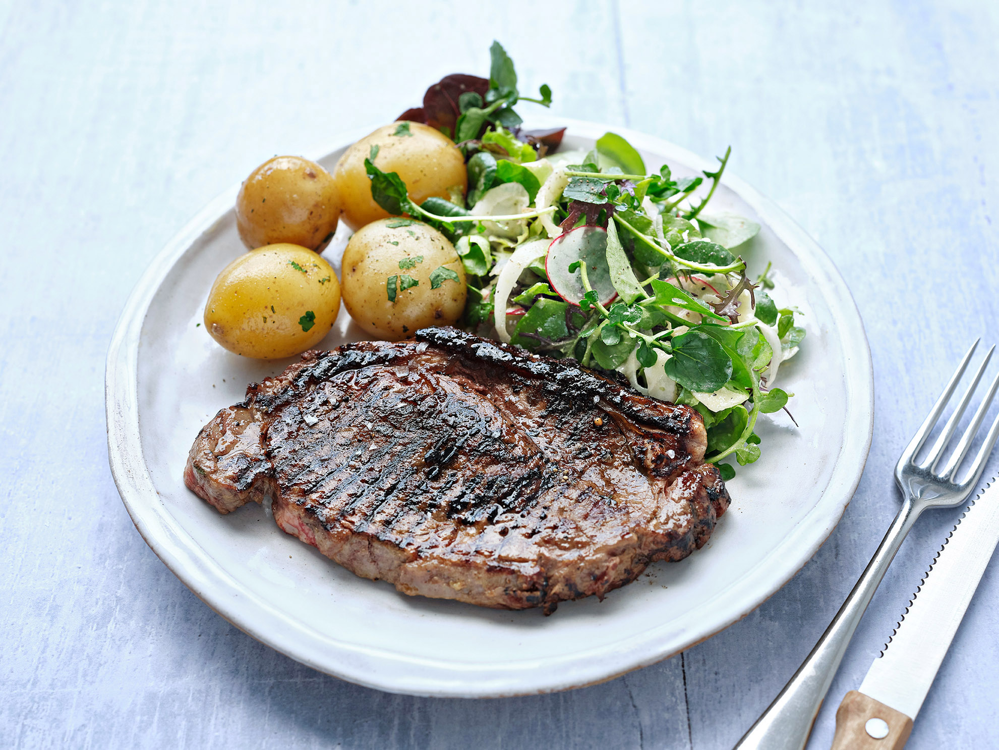 Steak with Mustard, Garlic and Thyme
