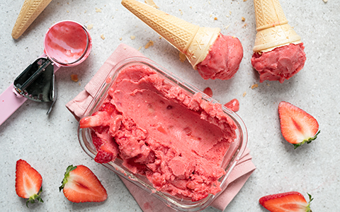 Three-ingredient Strawberry Ice Cream