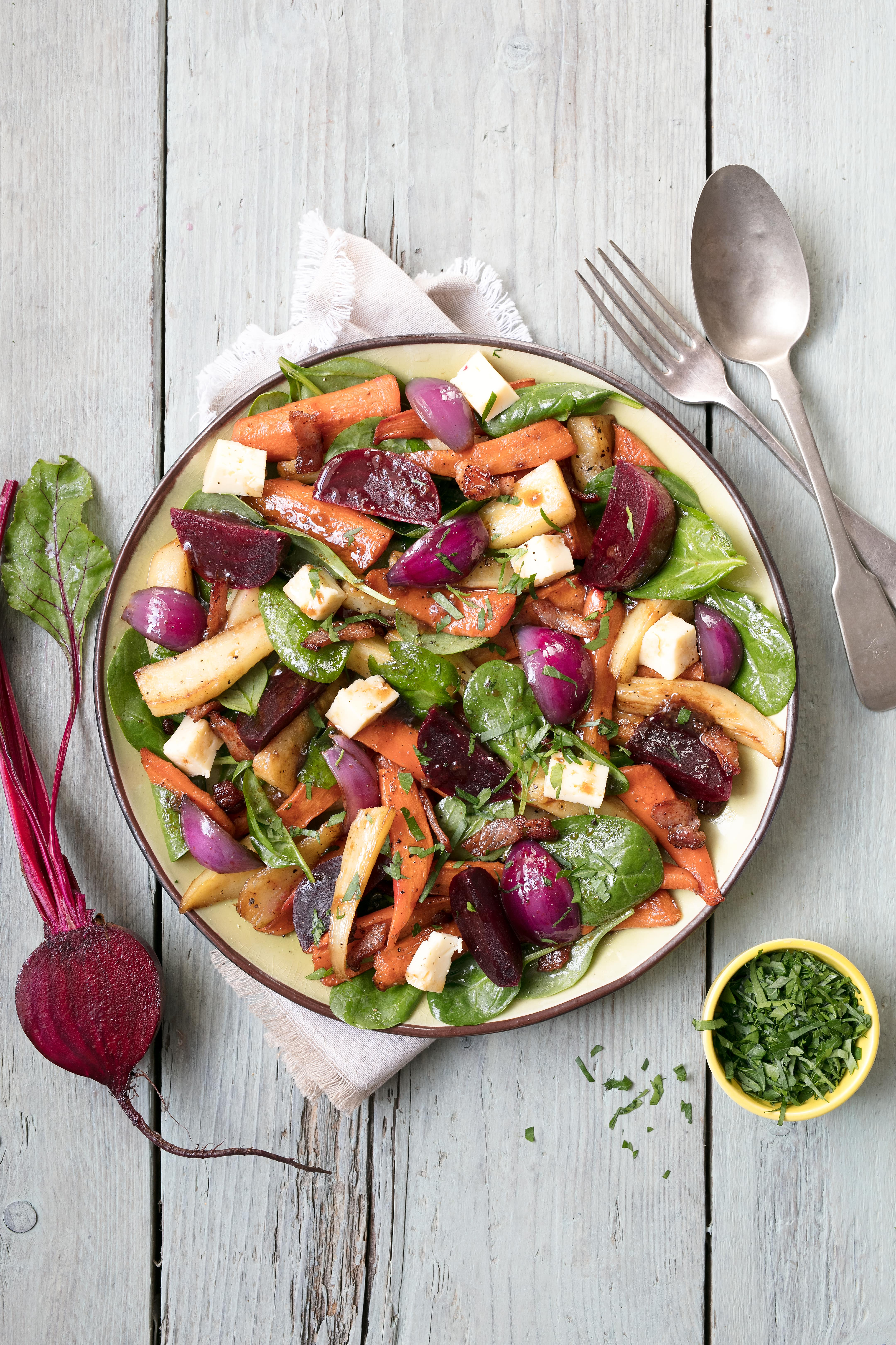 Warm Roasted Carrot, Parsnip and Beetroot Salad