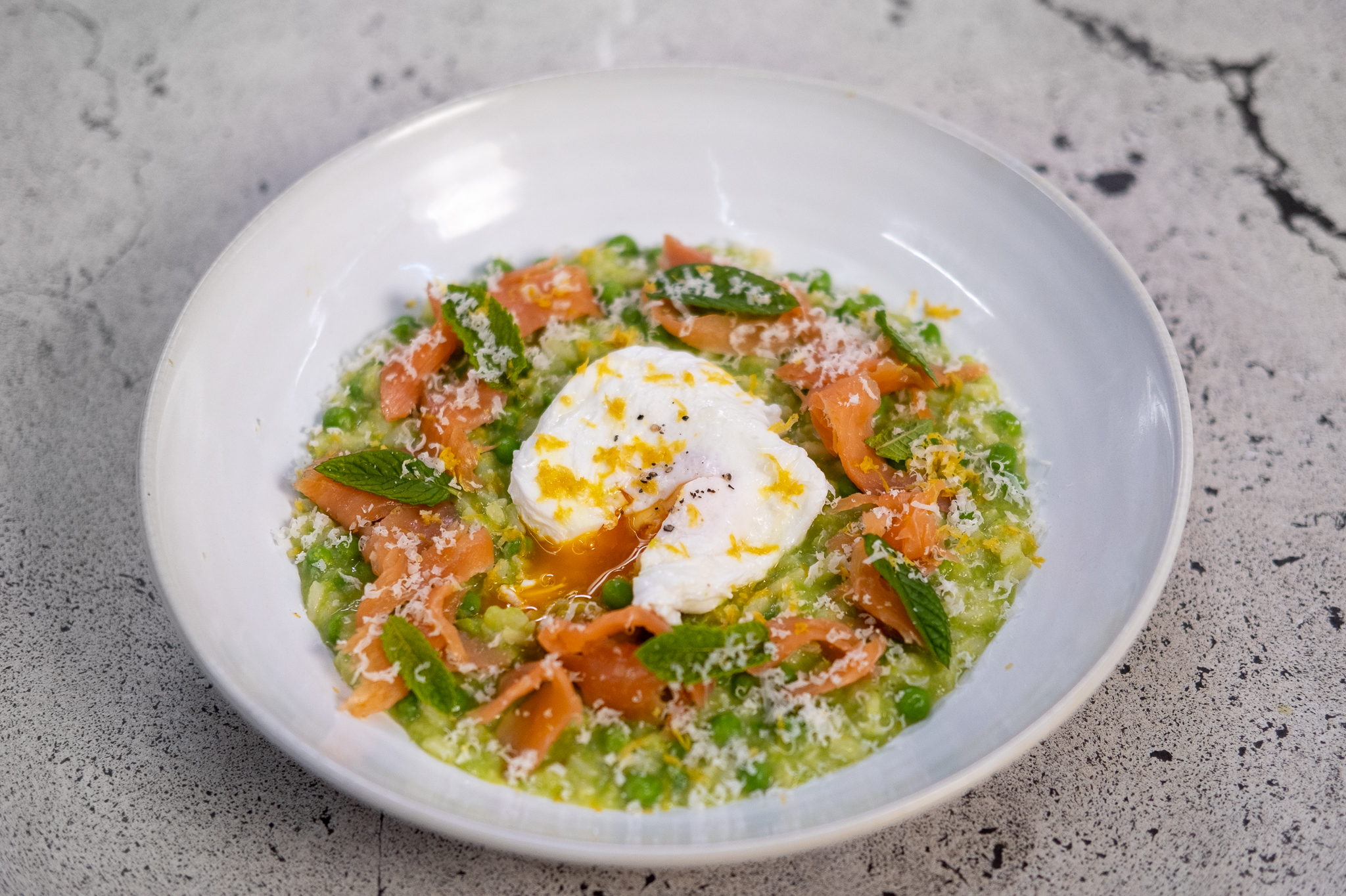 Mark's Pea Risotto, Smoked Salmon and Poached Egg