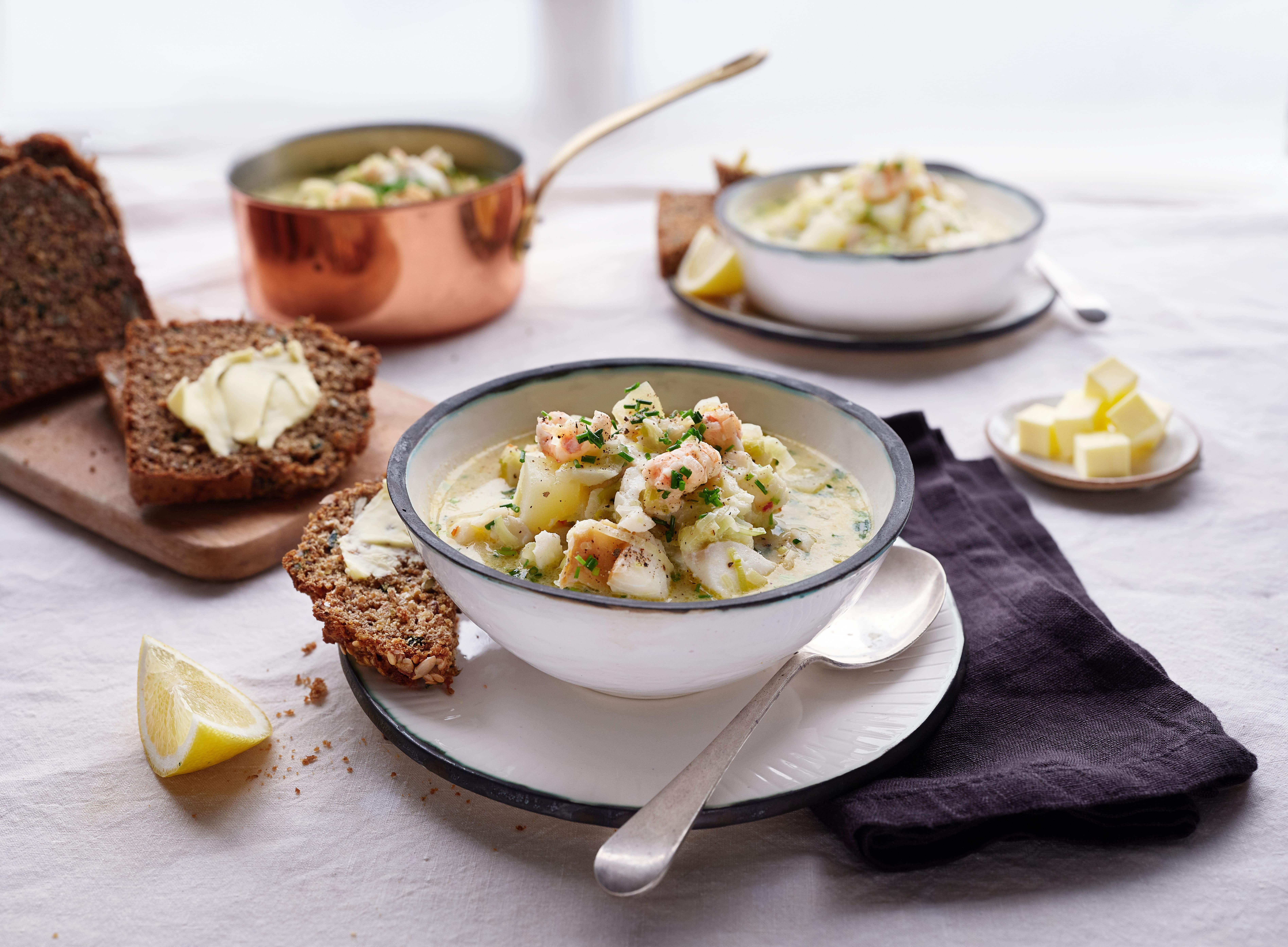 Haddock and Dublin Bay Prawn Chowder with Leeks