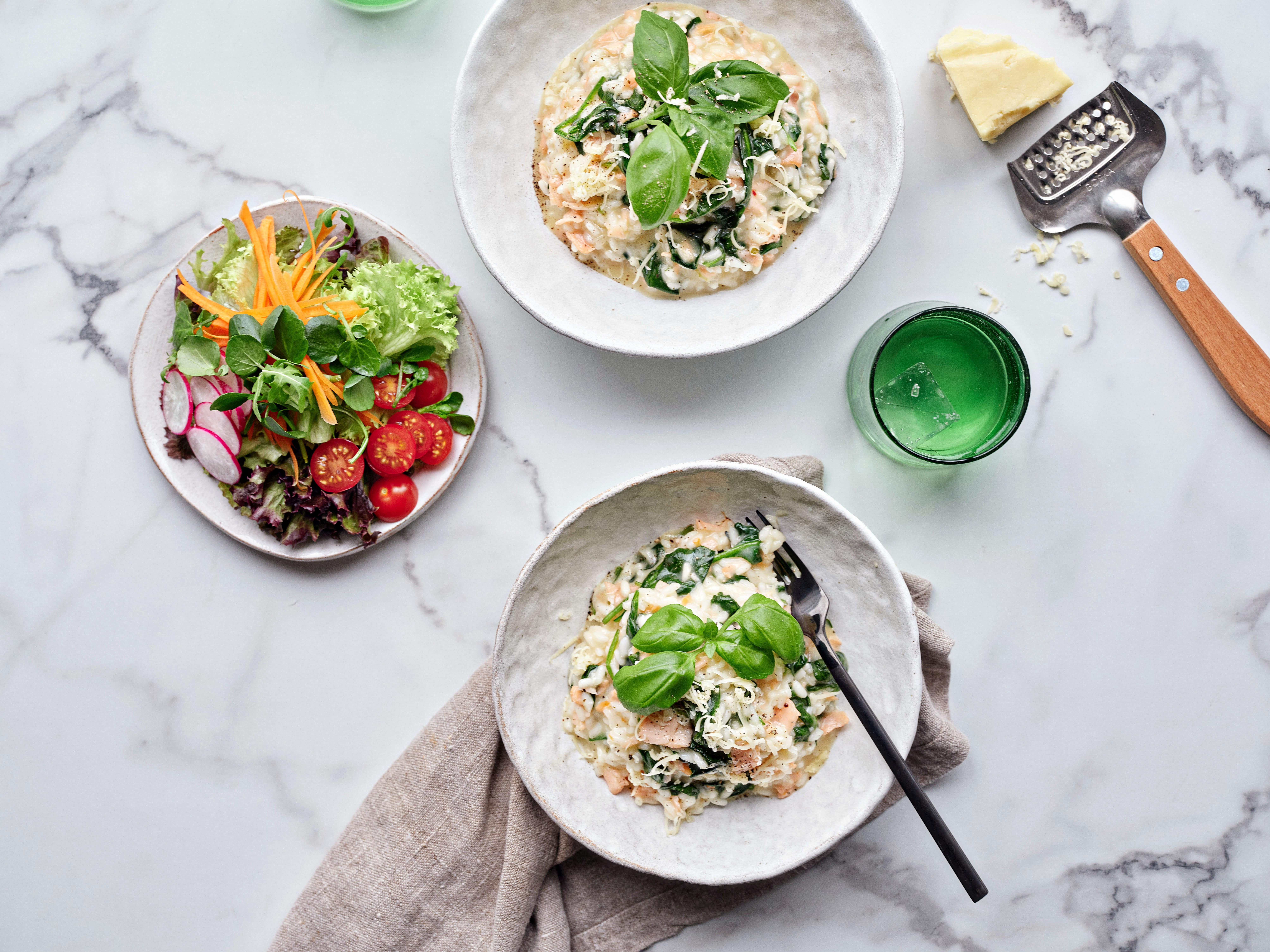 Organic Smoked Salmon and Spinach Risotto