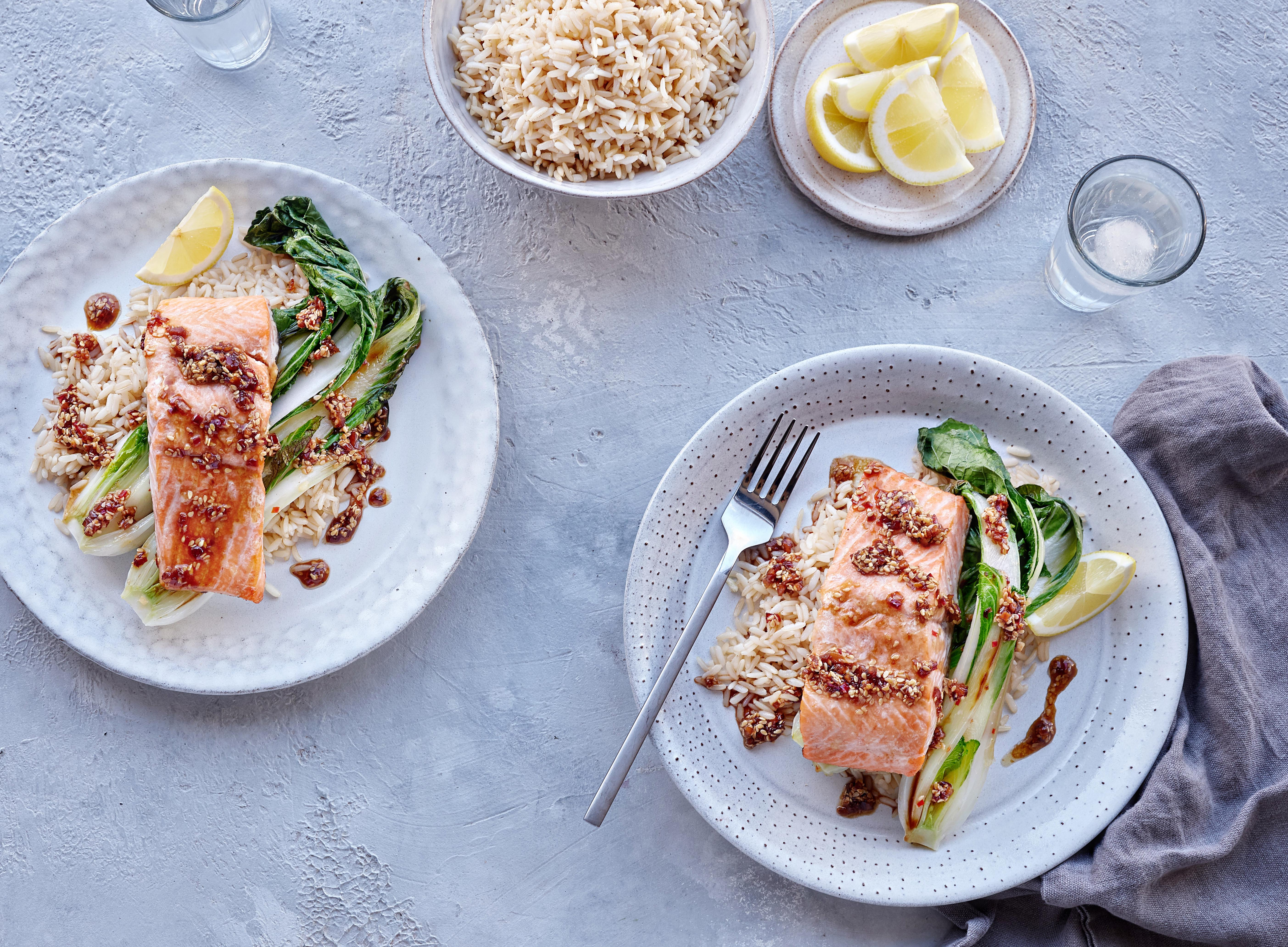 Grilled Trout with Pak Choi