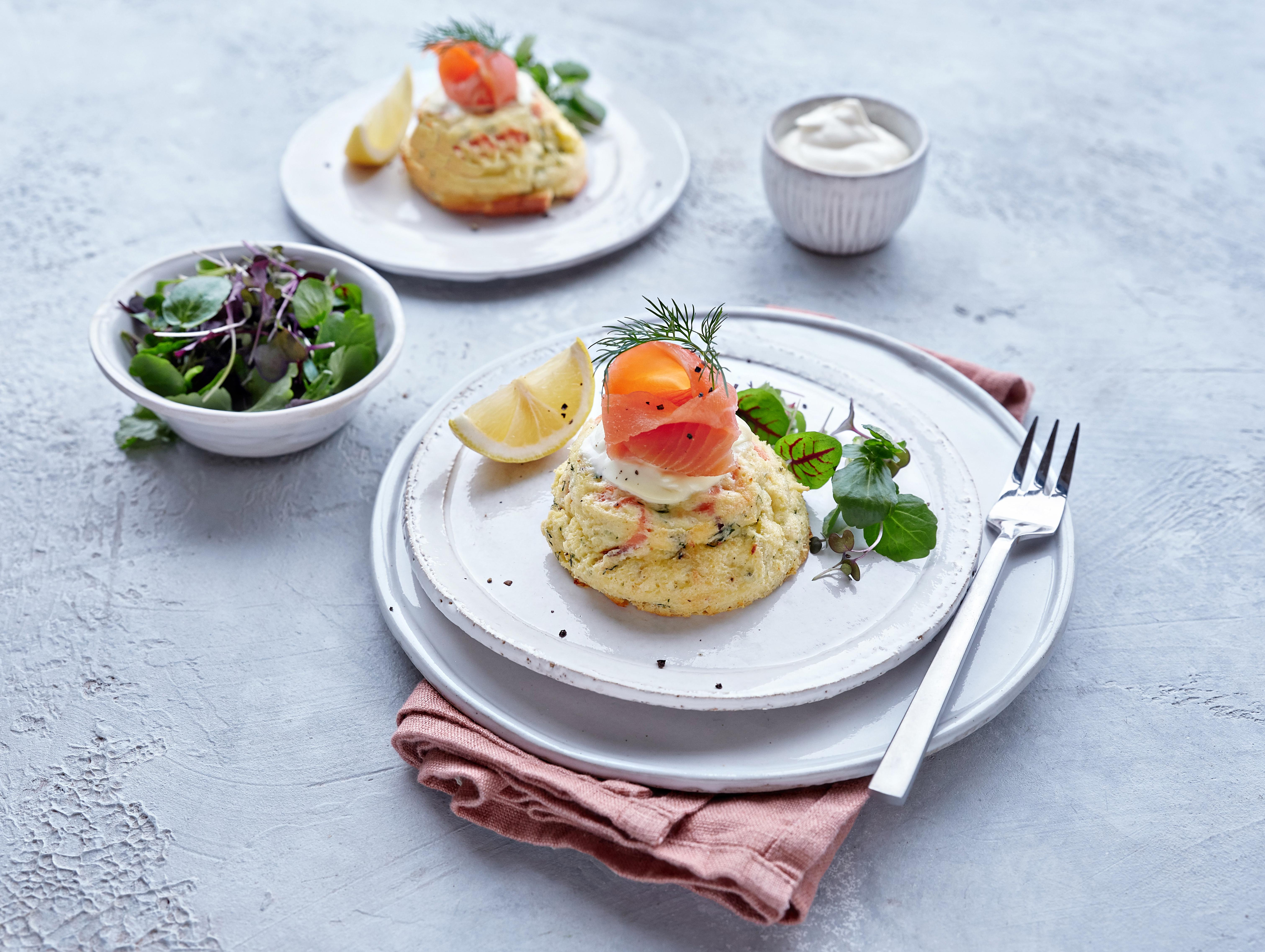 Twice Baked Organic Smoked Salmon or Trout Soufflés