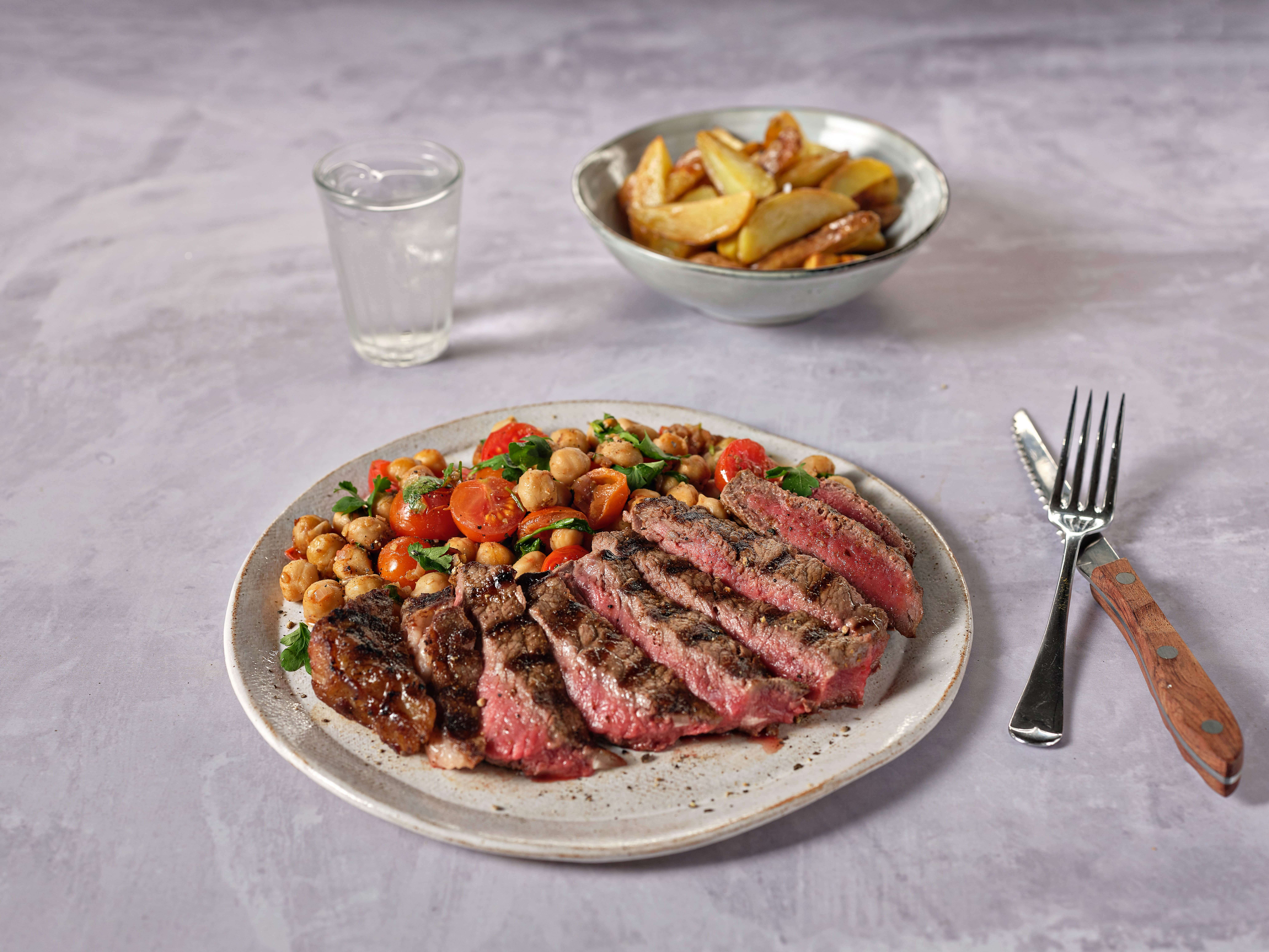 Steaks with Warm Tomato and Chickpea Salad