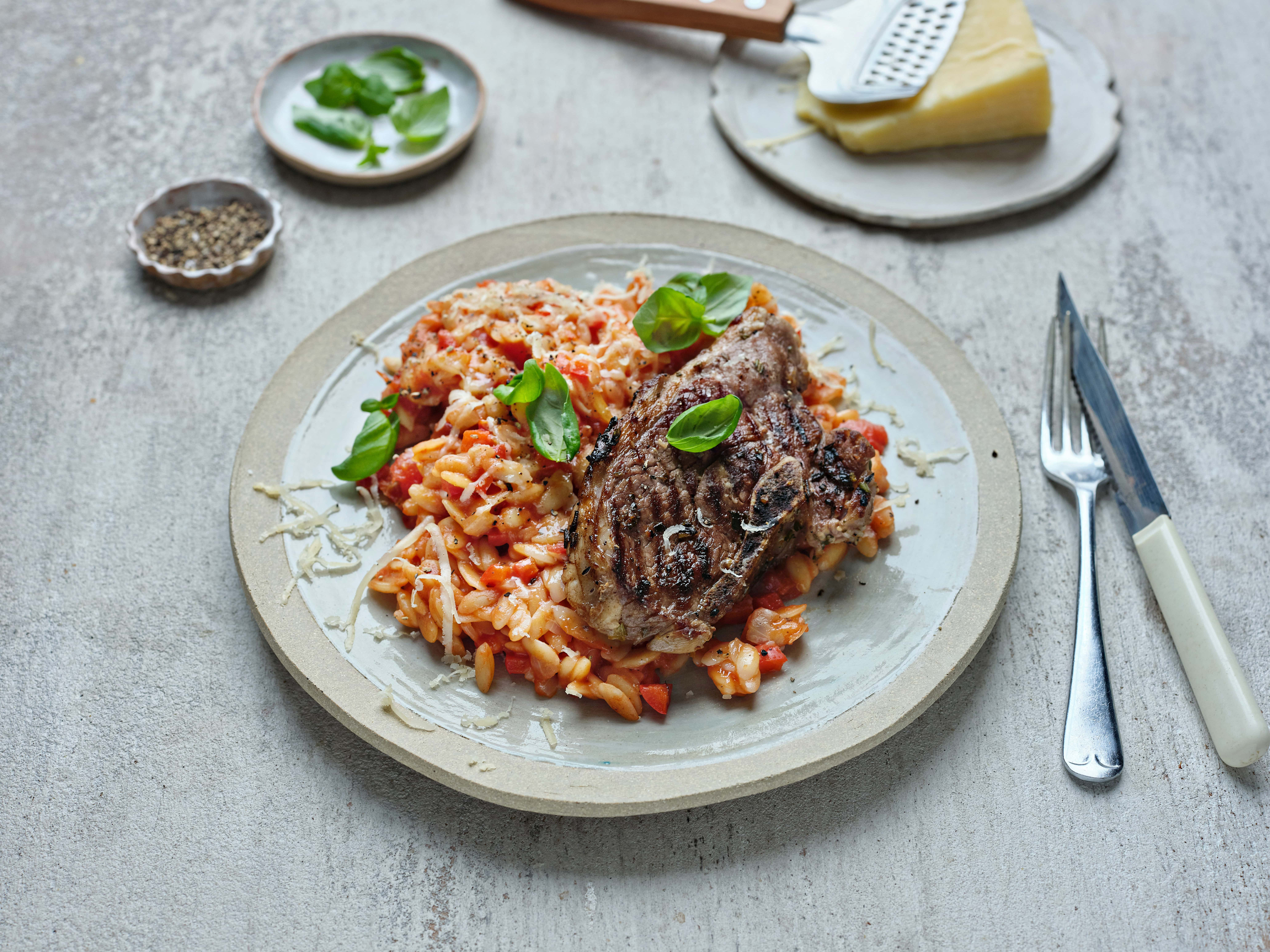Lamb Steak with Orzo