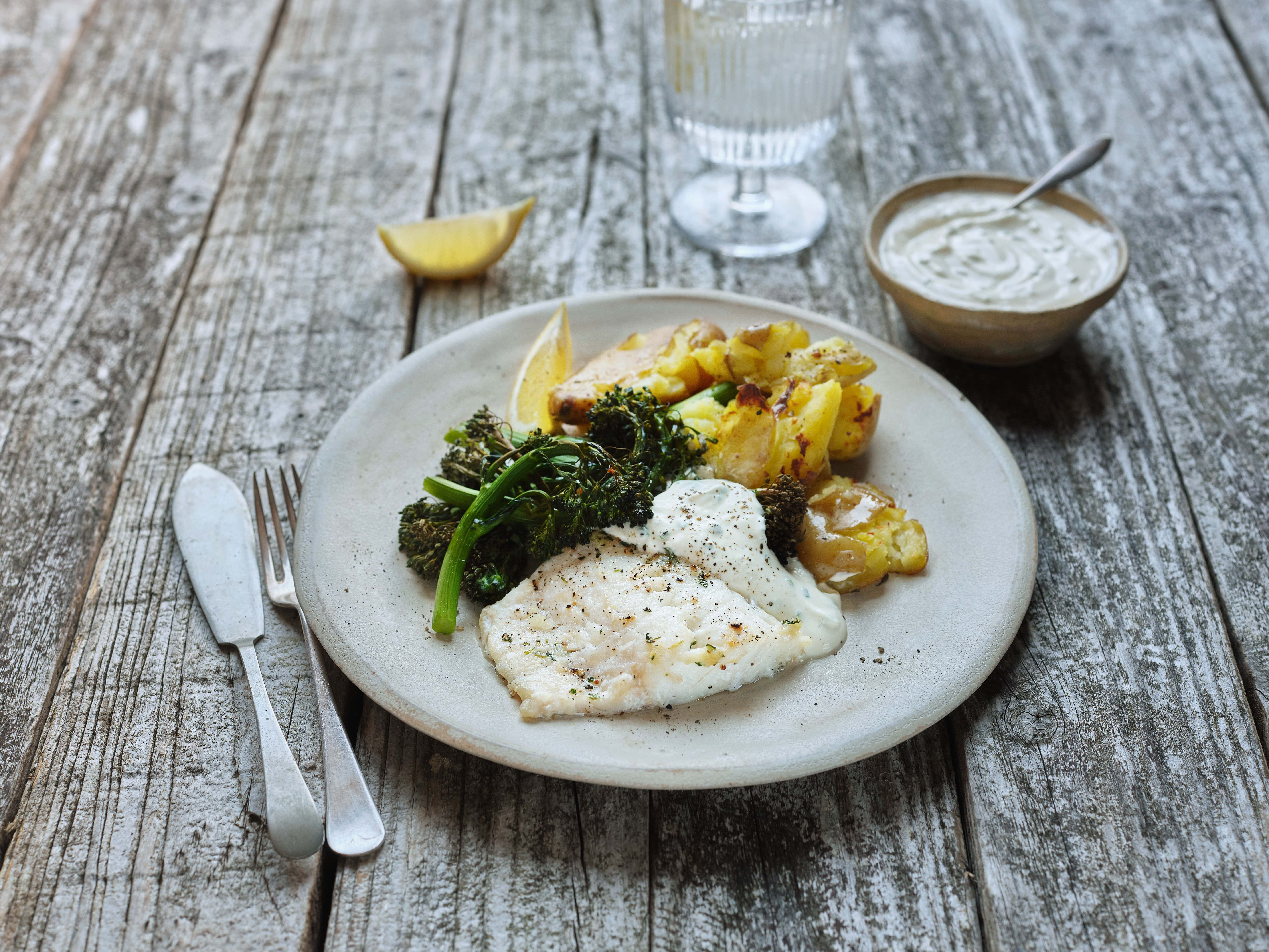Baked Haddock with Crushed Potatoes and Creamy Dressing