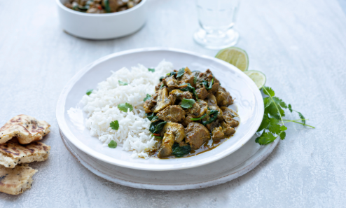 Lamb And Mushroom Korma With Spinach