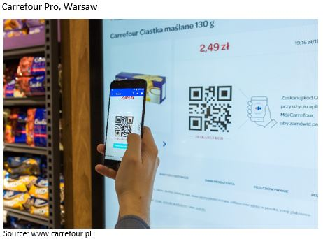 scanning QR code in a Carrefour