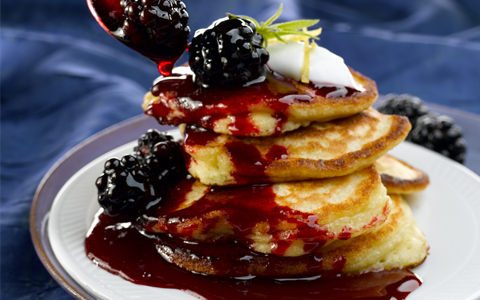 Apple and Yoghurt Pancakes with Blackberry and Honey Sauce