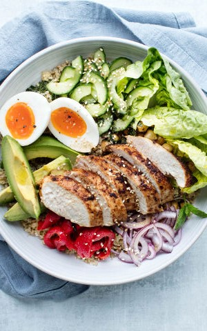 Chicken Salad Bowl with Avocado and Chickpeas