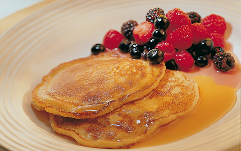 Warm Pancakes with Berries and Maple Syrup